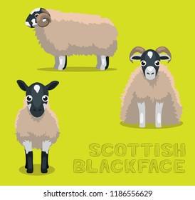 Sheep Scottish Blackface Cartoon Vector Illustration