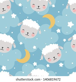Sheep Seamless Pattern with clouds and stars, Cute Cartoon Animal Background, Illustration Vector