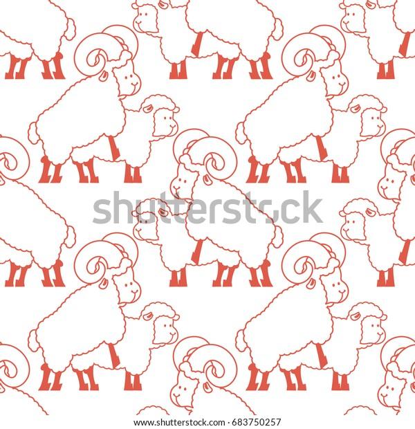 Sheep Sex Pattern Farm Animal Intercourse Stock Vector ...