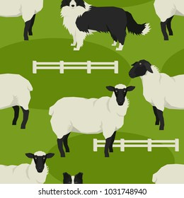 Sheep and sheepdogs Vector illustration Farm animals Geometric style Seamless pattern