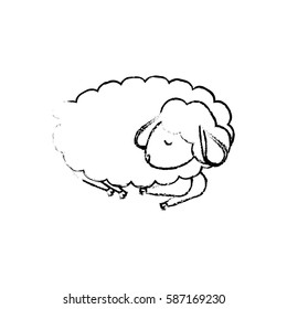 Sheep sleeping cartoon icon vector illustration graphic design