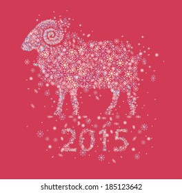 sheep  of snowflakes / symbol of New Year