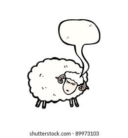 sheep with speech bubble cartoon
