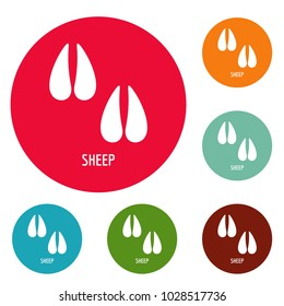 Sheep step icons circle set vector isolated on white background