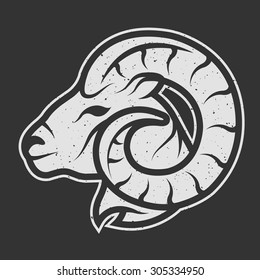 Sheep symbol logo for dark background. Vintage linear style.