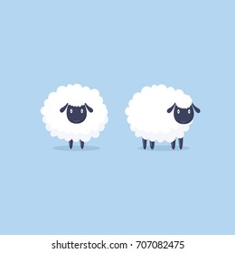 Sheep. Vector illustration. Funny cute sheep characters. Cartoon sheep.