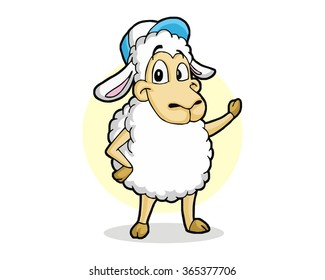 sheep wool animal farms mascot cartoon character vector