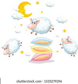 Sheeps jumping over the pillows on white background illustration