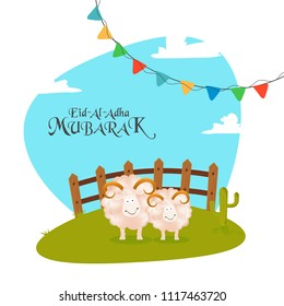 Sheep's on green field and colorful bunting flags on nature background. Eid-Al-Adha Mubarak, Islamic festival of sacrifice celebration greeting card design.