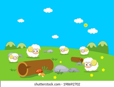 Sheeps on the mountain