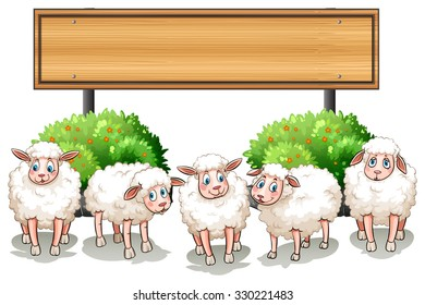 Sheeps and wooden sign illustration