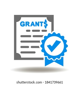 Sheet document seal check mark grants dollar currency icon vector. Financial Certificate Sign. Approved Grant Symbol.
