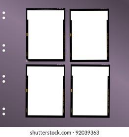sheet film contact sheet, vector, blank photo frames