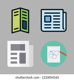 sheet icon set. vector set about newspaper, notebook, pamphlet and text lines icons set.