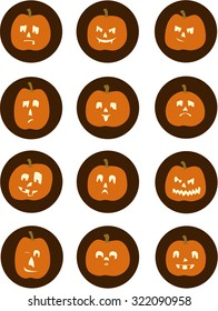 Sheet of Jack O'Lanterns with different emotions: sad, scary, smug, confused, happy, pouting, goofy, scared, angry, winking.