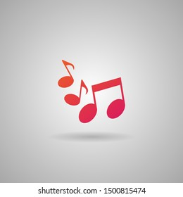 Sheet music Icon in trendy flat style. Isolated on grey background with orange and purple gradient material. Musical Note symbol for your mobile concept, web site design, app, UI.  Vector illustration