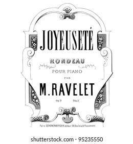 Sheet music - old music sheet page on white background - ed.schonenberger Paris circa 1890