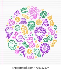 Sheet of notebook with drafts of colorful drawings of sweets, ice cream and cakes. Everything a child likes to eat