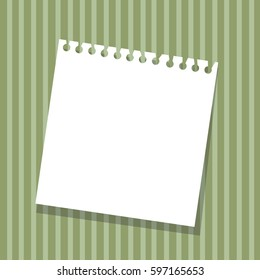 sheet from a notebook on a striped green background