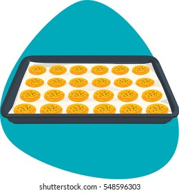 Sheet pan with cookies on parchment paper for oven bakery. Isolated. On green background.