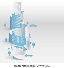 Sheet paper art of city, Landscape city, Vector illustration design.