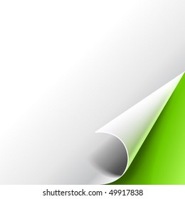 Sheet of paper with the curled corner on green background.