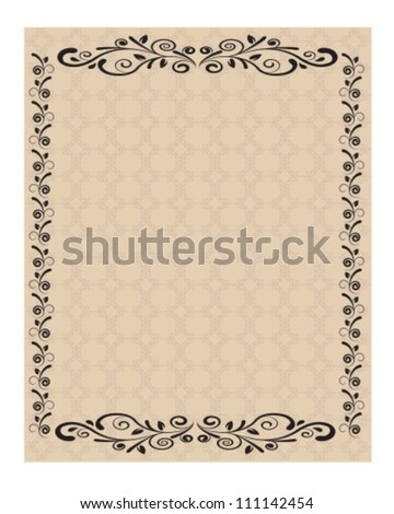 Sheet Paper Decorated Ornaments Curled Lines Stock Vector