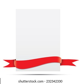 A sheet of paper with red ribbon.