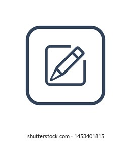 Sheet and pencil line icon for web, mobile and infographics.