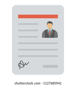 A sheet with person's picture representing it is a curriculum vitae of a candidate