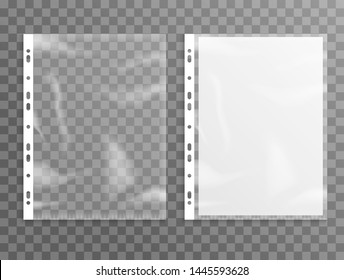 Sheet plastic protector, clear folder file. Punched pocket sheet mockup empty a4.