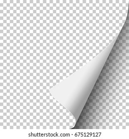 Sheet of transparent paper with curled corner and soft shadow. Element with space for text and ad. Template paper design. Vector illustration.