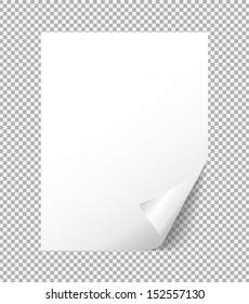 sheet of white paper with a bent corner