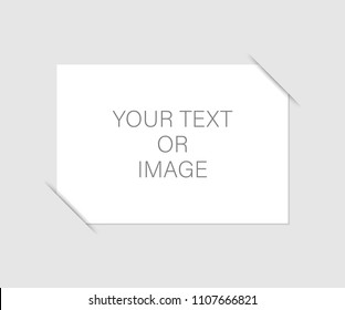 Sheet of white paper for your text or photos, mounted in pockets. Vector stock illustration.
