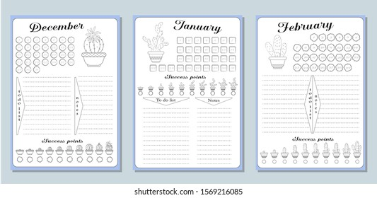 Sheets of business plans and a list of common activities in the winter months of December, January, February.