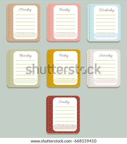 sheets planner cute polka dots diary stock vector royalty free