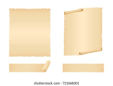 Sheets and stripes of old paper. Vector illustration