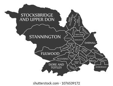 Sheffield city map England UK labelled black illustration