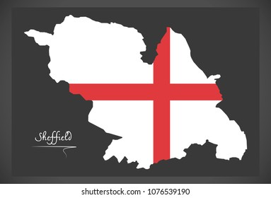 Sheffield map with English national flag illustration