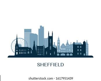 Sheffield skyline, monochrome silhouette. Vector illustration.