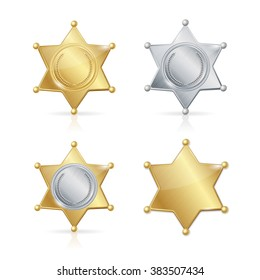 Shefiff Badge Star Set. Different Types. Vector illustration