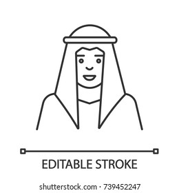 Sheikh linear icon. Muslim. Thin line illustration. Arab, turk. Contour symbol. Vector isolated outline drawing