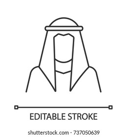 Sheikh silhouette linear icon. Muslim traditional clothes. Thin line illustration. Arab, turk. Islamic culture. Contour symbol. Vector isolated outline drawing. Editable stroke