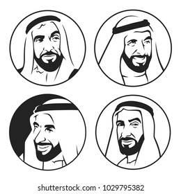 ( Sheikh Zayed )  Founder of United Arab Emirates UAE ,  Vector illustration