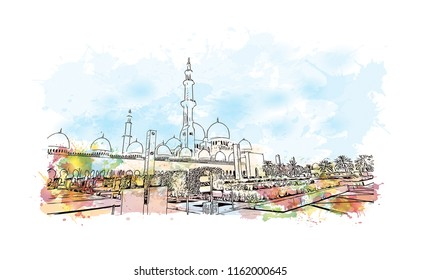 Sheikh Zayed Grand Mosque is located in Abu Dhabi, the capital city of the United Arab Emirates. Watercolor splash with Hand drawn sketch illustration in vector.