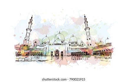 Sheikh Zayed Grand Mosque Watercolor splash with sketch - UAE ( United Arab Emirates )
