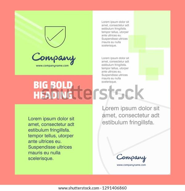 Sheild Company Brochure Title Page Design Stock Vector