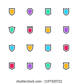 Sheild icon set, Simple flat symbols, guard pictograms, vector illustration