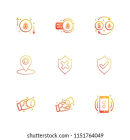 sheild  navigation  golem   mobile  money  coin icon vector design  flat  collection style creative  icons