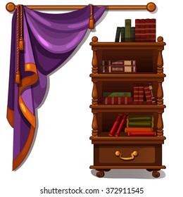 Shelf with books and purple curtain. Vector.